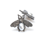 Bee Ornament with pearl, 2.5cm.(BA000546) Color Μαύρο νίκελ / Black nickel