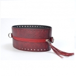 Round Eco-Leather Bag Frame with Zip, Tassel and Metal Rings, 21cm diameter(BA000557) Color Μπορντό / Bordeu