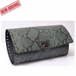 Kit Pochette Indigo Clutch Bag with Metal Lock, 28 x 49 cm (BA000405) Color SNAKE GREEN