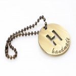 Hanging Metal Label 'Handmade' with Chain, 4cm (ΒΑ000402) Color Μπρονζέ /Bronze