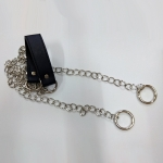 Metal chain with shoulder strap pad(23cm. x 3cm.)(160cm.)(0601) Color Μπλέ Ασημί