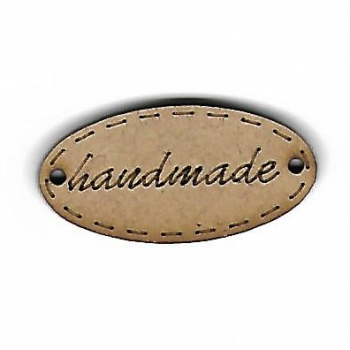 Wooden Handmade Oval Label 25mm